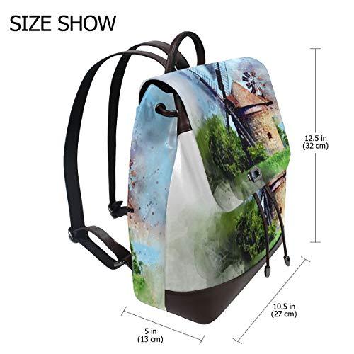 Kvinnor PU-läder torn väderkvarn vattenfärg grön ryggsäck handväska resa skola axelväska ledig dagväska