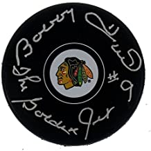 Bobby Hull Autographed Chicago Blackhawks NHL Puck - The Golden Jet Inscription - Certified Authentic