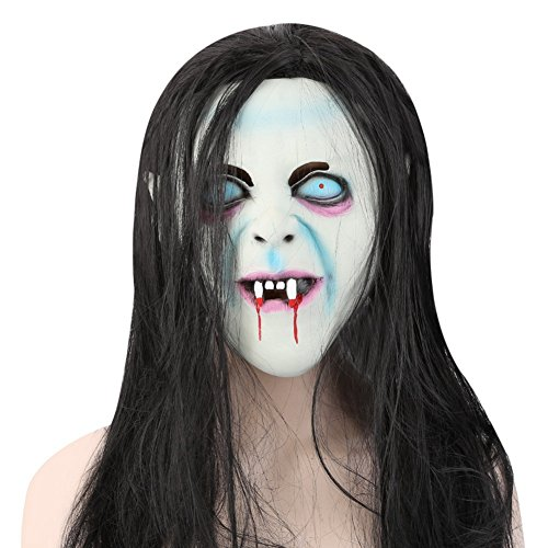 Najer Halloween Horror Latex Mask with Wig Grudge Sadako Ghost for Masquerade]()