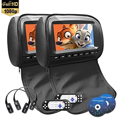 9 inch 1080P Car Headrest DVD Player Video Monitor With Leather Cover Zipper IR Wireless Headphones Games for Kids Road Trips Entertainment System Original Style