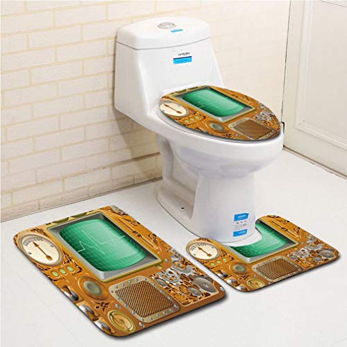 - Family bathroom set of 3, bathroom rug + contour pad + lid toilet seat Copper Decor,Industrial Victorian Style Grunge Steampunk Theme TV Gauger Clockwork,Orange Green Silver flannel carpet