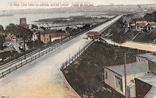 Postcard Birdseye View (Kansas City Kansas Intercity Viaduct Birdseye View Antique Postcard K65916)