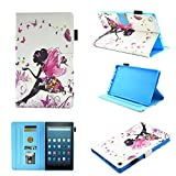 Fire HD 8 Case (2016/2017 Release),Chgdss Cartoon Cute Case, Smart Cover Flip Leather Case with Stand Feature Ultra Slim PU Leather Cover,for Amazon Kindle Fire HD 8 (2016/2017), Butterfly girl