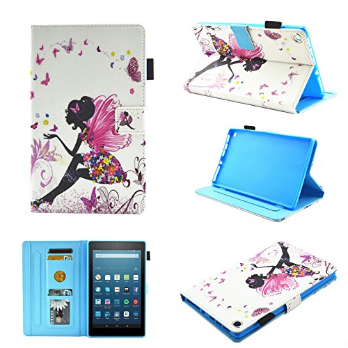 Fire HD 8 Case (2016/2017 Release),Chgdss Cartoon Cute Case, Smart Cover Flip Leather Case with Stand Feature Ultra Slim PU Leather Cover,for Amazon Kindle Fire HD 8 (2016/2017), Butterfly girl by Chgdss