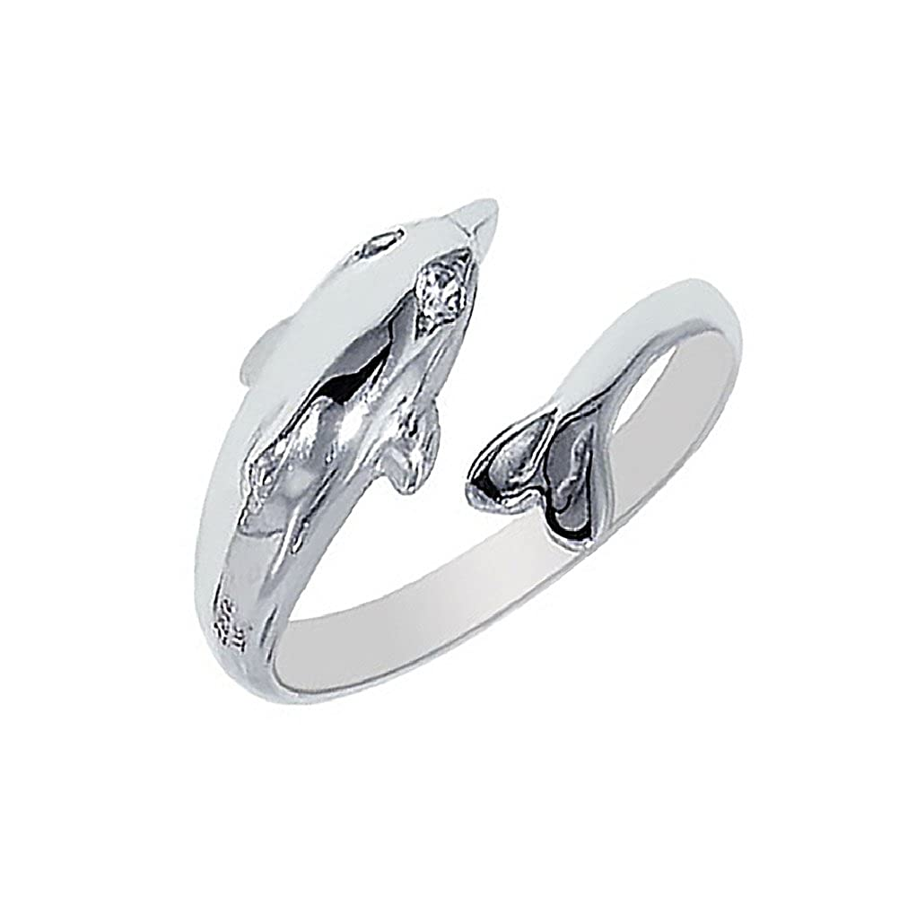 Sterling Silver Dolphin Cubic Zirconia Toe Ring Body Art Adjustable Ritastephens 1