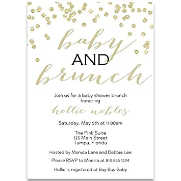 Amazon Com Baby Shower Invitations Baby And Brunch Champagne
