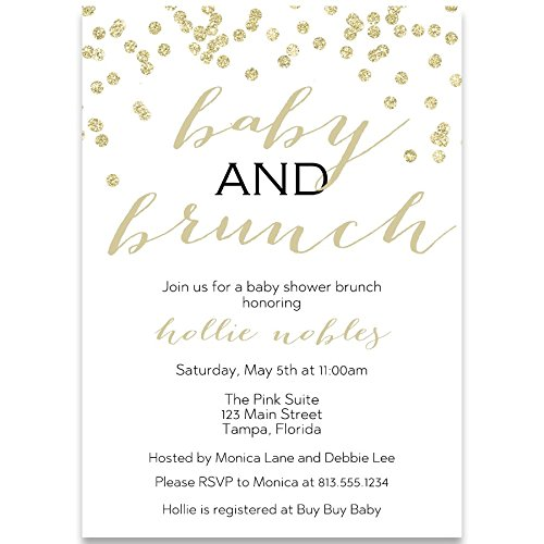 Baby Shower Invitations, Baby and Brunch, Champagne, Mimosa, Toast, Gender Neutral, Gold, Confetti, Glitter, Set of 10 Custom Printed Invites with White ()