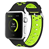 Apple Watch Silicone Band 42mm, iWatch Wristband Sports Fan Bracelet w/Ventilation Hole for Apple Watch Sports Series 3/Series 2/Series 1 Edtion iWatch Band Strap Stripe (42mm black/green)