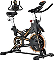 Indoor Cycling Bike - Topseek Exercise Bike for Home Gym Stationary Bikes with Comfortable Seat Cushion, Silen