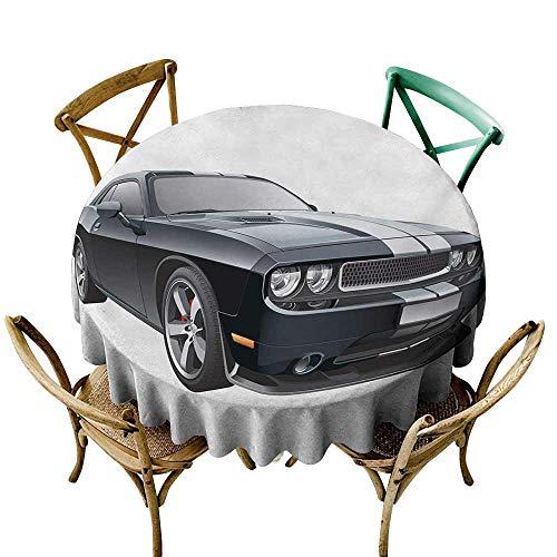 Waterproof tablecloths Cars,Black Modern Pony Car with White Racing Stripes Coupe Sports Dragster Print,Black Grey White D50,for Spring