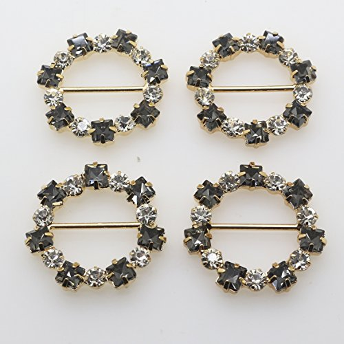 - XINXI Hot Sale New 20 Pcs 30 mm Round Gold Tone Crystal Buckle Chair Sash Ribbon Slider Rhinestone Buckles