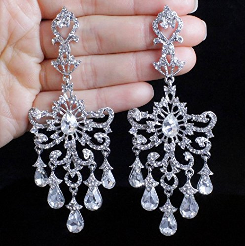 - Janefashions Huge Victorian Austrian Crystal Rhinestone Drop Chandelier Dangle Earrings E2097 White (White)