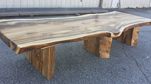 Thick Rainbow Poplar Live Edge Slab Dining or Conference Table, with matching (Solid Wood Slabs)