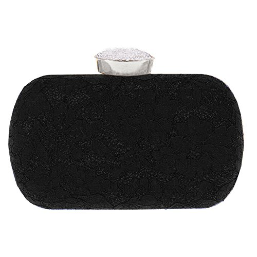 Bags Oval black Womens Beaded Purse Clutch Wedding Party Evening Lace Clasp Prom qgxzPgt