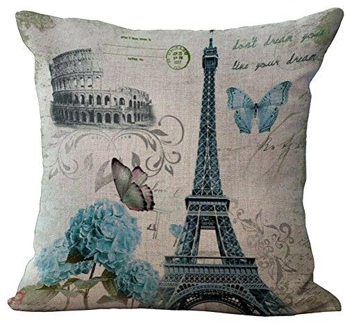 ChezMax Linen Blend Eiffel Tower Pattern Cushion Cover Cotton Pillowslip Square Decorative Throw Pillow Case 18 X 18'' (Club Chair Paris)