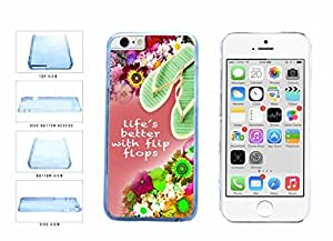 Life is Better with Flip Flops on Floral Background Clear Plastic Phone Case Back Cover Apple iphone 4 4s inches screen) includes diy case Cloth and Warranty Label