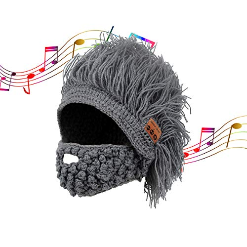 Music Beanie Hats for Men, Barbarian Slouchy with Beard Moustache Halloween Built-in Wireless Headphone Bluetooth -