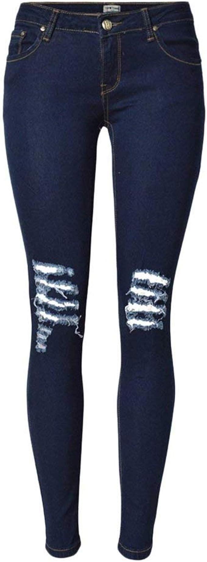 Leggings Para Mujer Pantalones Vaqueros Rotos Estilo Especial Estiramiento Pantalones Agujeros Delgados Cher Cintura Alta Con Bolsillos Pantalones Amazon Es Ropa Y Accesorios