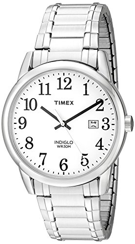 Timex Men's TW2P81300 Easy Reader Silver-Tone Stainless Steel Expansion Band Watch (Reader Ez Timex)