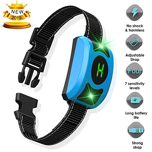 Dansrue Rechargeable Bark Collar -Harmless and Humane/Stop Anti Barking by Beep/Vibration/Shock for Small Medium Large Dogs Training with LED Screen IPx7 Waterproof