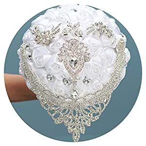 8Styles New White Wedding Bride Holding Flowers Artificial Bouquet Ribbon Rhinestone Pearl Bouquet Decoration Bride Groom Dance 21