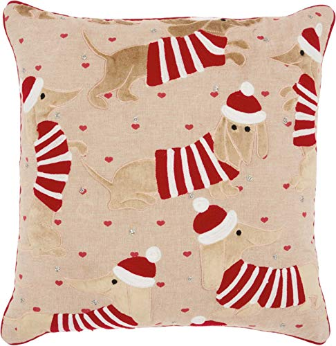 Mina Victory Home Candy Cane Dachshund Multicolor Holiday Throw Pillow, 18