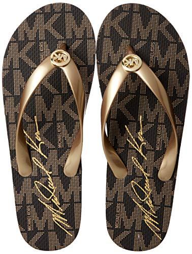 Michael Michael Kors Women's MK Flip Flop Gold Jet Set Logo Print Sandal 9 M ()