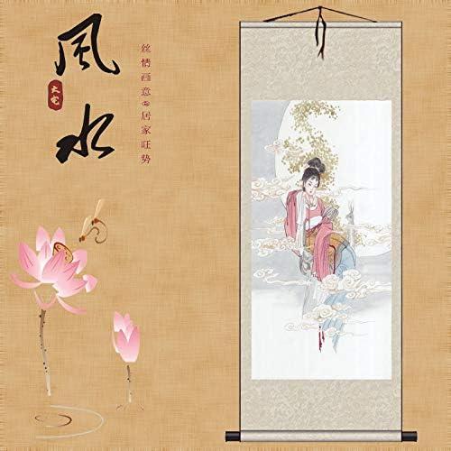 Amazon SDFDP 中国神話チャンE、ウサギのライスペーパースクロール装飾的な絵画は、古典的な風水マスターホテルの壁画を装飾 (Color :  White, Size : 170cm×70cm) SDFDP - カタログギフト 通販