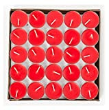 HorBous 50 Per Box - 1.5-2 Hours Burning Time Quality Unscented Tea Lights Candles (Red, purple, white, pink) (red)
