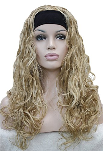 (Long Wavy Curls Spike 3/4 half wig headband Women Daily life Natural Hivision Synthetic wig (Butterscotch Golden))