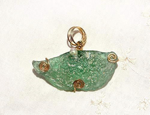 Textured Roman Glass Gold Filled Pendant with a Small Pearl. One of a Kind Green Ancient Roman Glass Pendant. Handmade in Israel By HKart1 Jewelry.