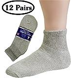 Debra Weitzner Womens Diabetic Socks Loose Cotton Socks 12-pack Ankle Grey�