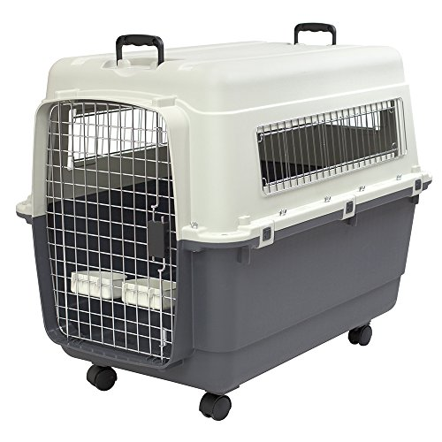 SportPet Designs Plastic Kennels Rolling Plastic Wire Door Travel Dog Crate- XLarge