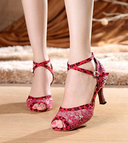 Tda Dames Kant Stiksels Kristallen Enkelbandje Salsa Tango Ballroom Latin Moderne Dansschoenen Rood