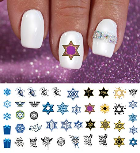 Hanukkah Holiday Assortment Water Slide Nail Art Decals Set #2 - Salon Quality 5.5