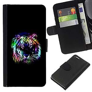 EJOY---La carpeta del tirón la caja de cuero de alta calidad de la PU Caso protector / Apple Iphone 5C / --Neon Tiger