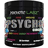 Psychotic Labz Psycho Circus High Stim Pre Workout Powder, Energy Focus Strength Pumps, Loaded with Beta Alanine…
