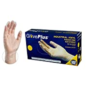 GlovePlus Industrial Clear Vinyl Gloves - 4 mil, Latex Free, Powder Free, Disposable, Non-Sterile, Food Safe, Medium, IVPF44100-BX, Box of 100