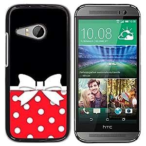 Caucho caso de Shell duro de la cubierta de accesorios de protección BY RAYDREAMMM - HTC ONE MINI 2 / M8 MINI - Bow Polka Dot Red White Black