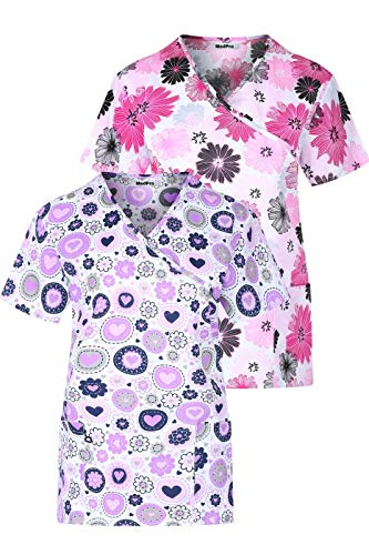 MedPro Women's Printed Wrap Neck Medical Scrub Top Multi Pack ASTD:Pink,Black M
