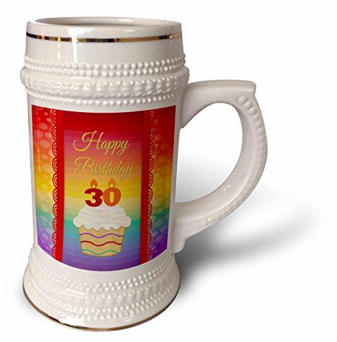 3dRose-Beverly-Turner-Birthday-Design-Cupcake-with-Number-Candles-30-Years-Old-Birthday-22oz-Stein-Mug