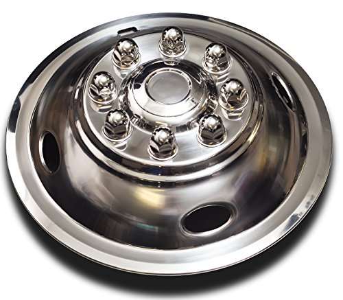 Wheel Simulators Stainless Steel 16-inch (Set of 4) 16in Dually Wheels Simulator - Truck Accessories Best for Pick-up Trucks Vans RV Hub Caps Rim Skin Chrome Cover Parts - Universal Fits 8 Lug, 4 Hole by OxGord (Image #4)