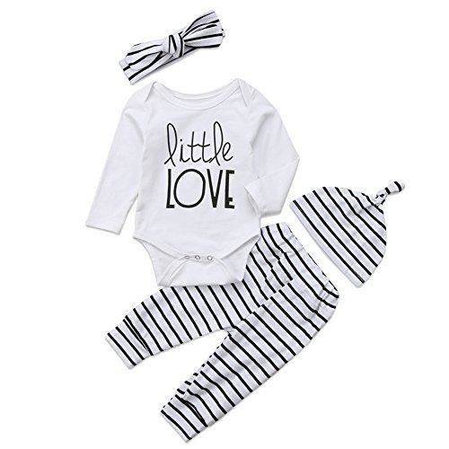 4Pcs/Set Baby Boy Girl Love Long Sleeve Romper Bodysuit+Striped Pants+Hat+Headband Outfits (White+Striped, 0-6 Months)