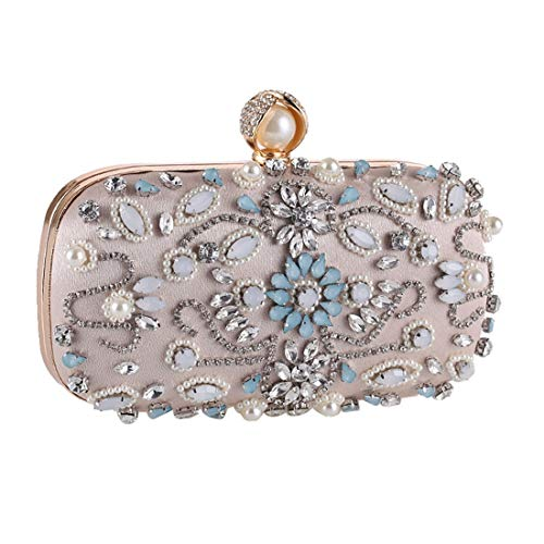 New Fly United Party Clutch Evening Bag Dress The Bag Women's Handmade Beaded Bag Color Europe Evening States Bag Bag with Diamond and Apricot Apricot Evening Uq6nrxAXq