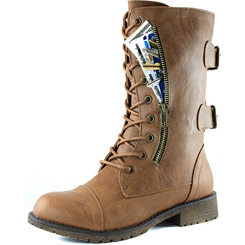 Women's Military Up Buckle Combat Boots Mid Knee High Exclusive Credit Card Pocket, 6.5 B US,Slim Tan