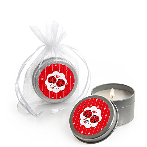 Big Dot of Happiness Twin Modern Ladybugs - Candle Tin Baby Shower Favors - Set of 12 ()