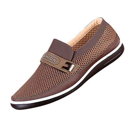Running Shoes Men Summer Hollow Mesh Breathable Casual Shoes Slip-On Soft Sole Indoor and Outdoor Shoes Coffee