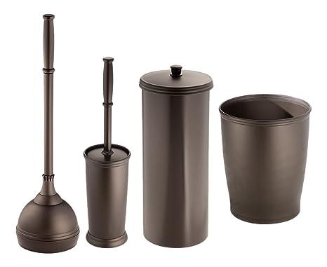 Mdesign set da 4 accessori bagno in plastica robusta set accessori