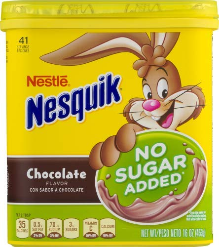 NESTLE NESQUIK No Sugar Added Chocolate Flavored Powder (Pack of 10)