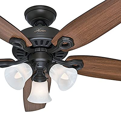 "Hunter 52"" New Bronze Ceiling Fan - Three-Light Fitter with Swirled Marble Glass (Certified Refurbished)"